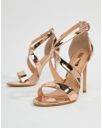 Office Harper Gold Strappy Heeled Sandals