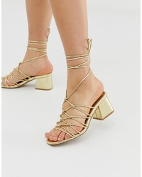 ASOS DESIGN Harvie Knotted Detail Sandals In Gold