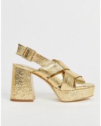 Head over Heels by Dune Head Over Heels Manda Metallic Gold Ed Sandals