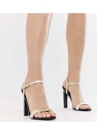 River Island Heeled Sandals In Metallic Snake Print