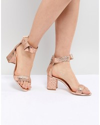Ted Baker Kerrias Gold Leather Block Heeled Sandal