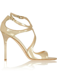 Jimmy Choo Lang Metallic Leather Sandals Gold