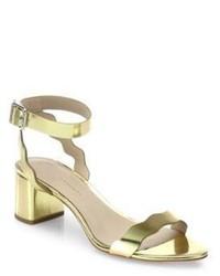 Loeffler Randall Emi Scallop Metallic Leather Block Heel Sandals