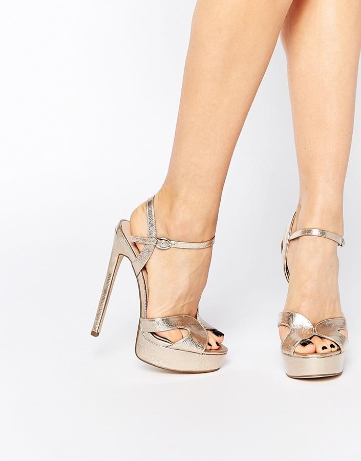 8fc197d1a9a £80, Lost Ink Ritz Gold Platform Heeled Sandals