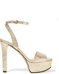 Gucci Metallic Cracked Leather Platform Sandals Gold