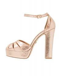 Buffalo Platform Sandals Metallic Champagne