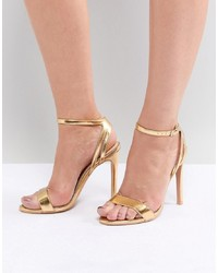 Public Desire Runaway Gold Metallic Heeled Sandals Pu