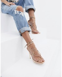 SIMMI Shoes Simmi London Jenny Gold Tie Up Heeled Sandals