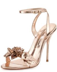 Sophia Webster Lilico Floral Leather 105mm Sandal Rose Gold