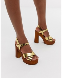 ASOS DESIGN Translate Heeled Sandals In Gold