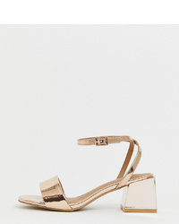 ASOS DESIGN Wide Fit Honeywell Block Heeled Sandals In Gold