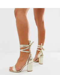 ASOS DESIGN Wide Fit Howling Tie Leg Block Heeled Sandals