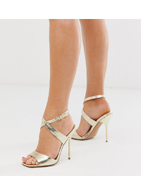 ASOS DESIGN Wide Fit Weave Barely There Heeled Sandals In Gold
