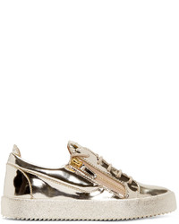 Gold Leather Low Top Sneakers