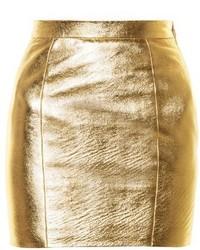 Saint Laurent High Rise Leather Mini Skirt