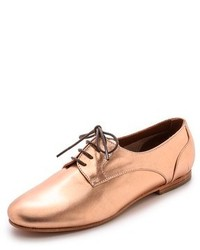 Gold Leather Oxford Shoes
