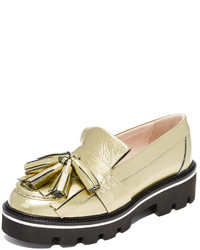 Gold Leather Platform Loafers