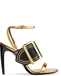 Burberry Metallic Leather Sandals Gold