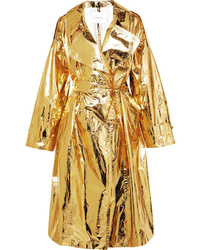 PushBUTTON Metallic Crinkled Vinyl Trench Coat