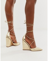 ASOS DESIGN Porter High Heeled Wedges In Pale Gold