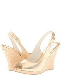 Gold Leather Wedge Sandals