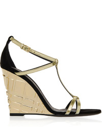 Burberry London London Metallic Leather And Suede Wedge Sandals