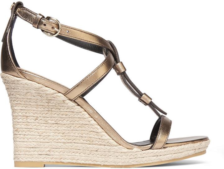 dc40d84619 Burberry Metallic Leather Espadrille Wedge Sandals Gold, £378 | NET ...