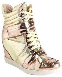 Gold Leather Wedge Sneakers