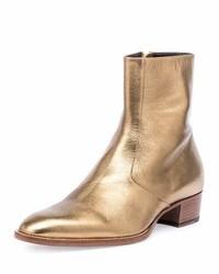 Saint Laurent Wyatt 40mm Metallic Leather Ankle Boot Gold