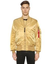 Gold Nylon Bomber Jacket
