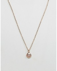 Ted Baker Elvina Enamel Silver Glitter Mini Button Pendant Necklace