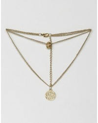 Asos Multirow Filigree Disc Charms Necklace