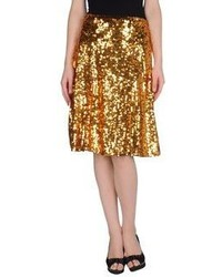 Gold Pleated Midi Skirt