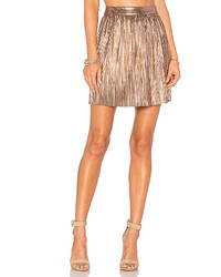 Gold Pleated Mini Skirt