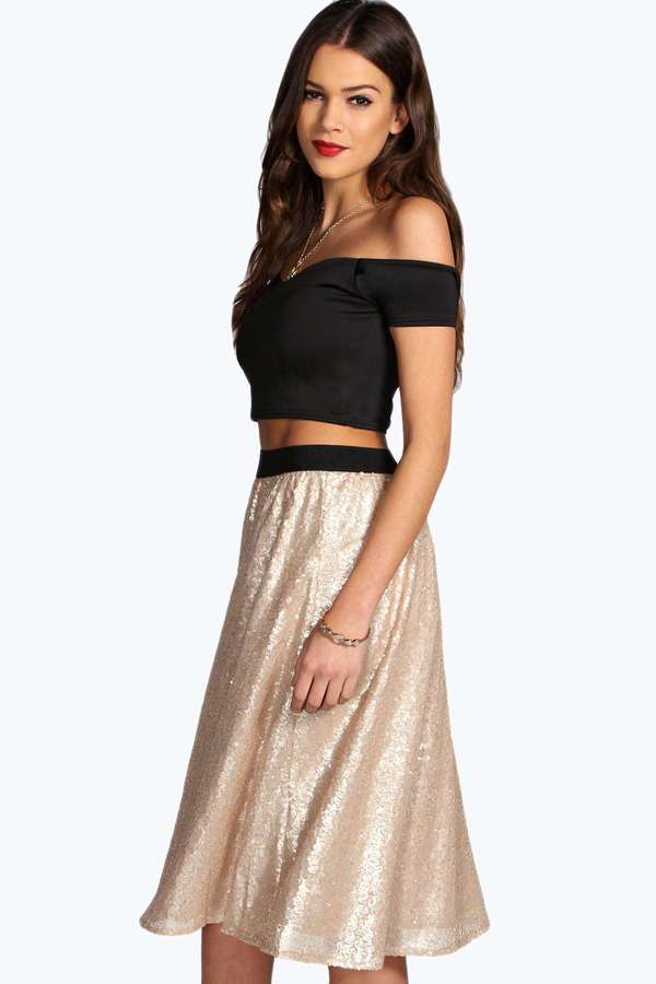 Boohoo Jayne All Over Sequin Midi A Line Skirt | Where to buy ...