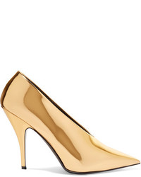Stella McCartney Faux Mirrored Leather Pumps Gold