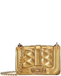 Gold Quilted Leather Crossbody Bag