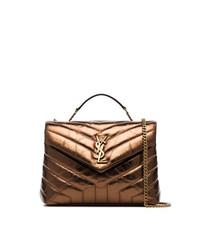 Saint Laurent Metallic Bronze Lou Lou Quilted Leather Shoulder Bag