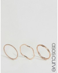 Asos Curve Curve Pack Of 3 Plaited Ring Pack