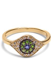 Ileana Makri Diamond Sapphire Tsavorite Yellow Gold Ring