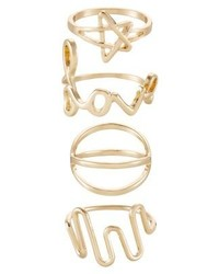 Only Onlkill 4 Pack Ring Gold Coloured