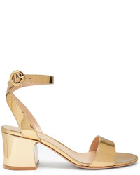 Gold Satin Heeled Sandals