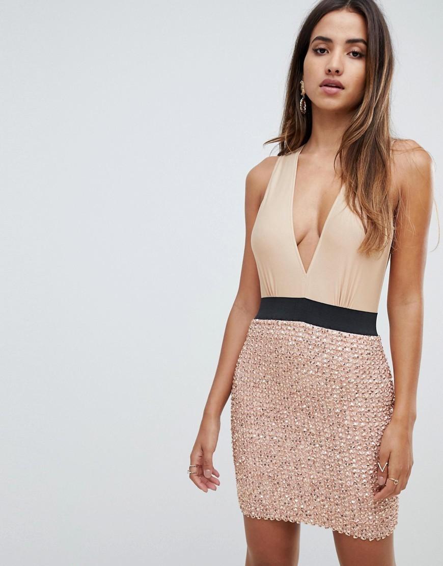 Scarlet Rocks 2 In 1 Plunge Front Mini Sequin Dress In Gold