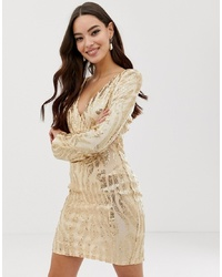 AX Paris Deep V Long Sleeve Sequin Dress