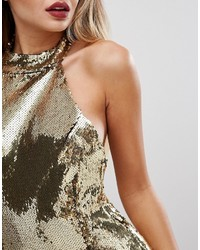 PrettyLittleThing High Neck Sequin Bodycon Dress