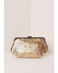 Missguided Gold Sequin Clutch Bag