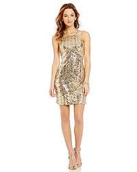 Gold Sequin Sheath Dress