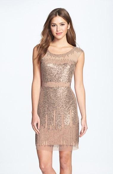 804864fa3cf ... Adrianna Papell Illusion Yoke Beaded Sheath Dress ...