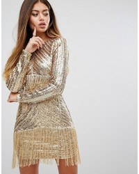 PrettyLittleThing Premium Sequin Fringed Mini Dress