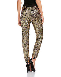 Gold Sequin Skinny Pants